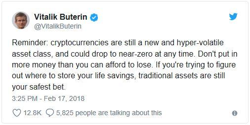 Виталик Бутерин: криптовалюты могут упасть до нуля