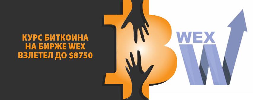 Курс биткоина на бирже WEX взлетел до $8750